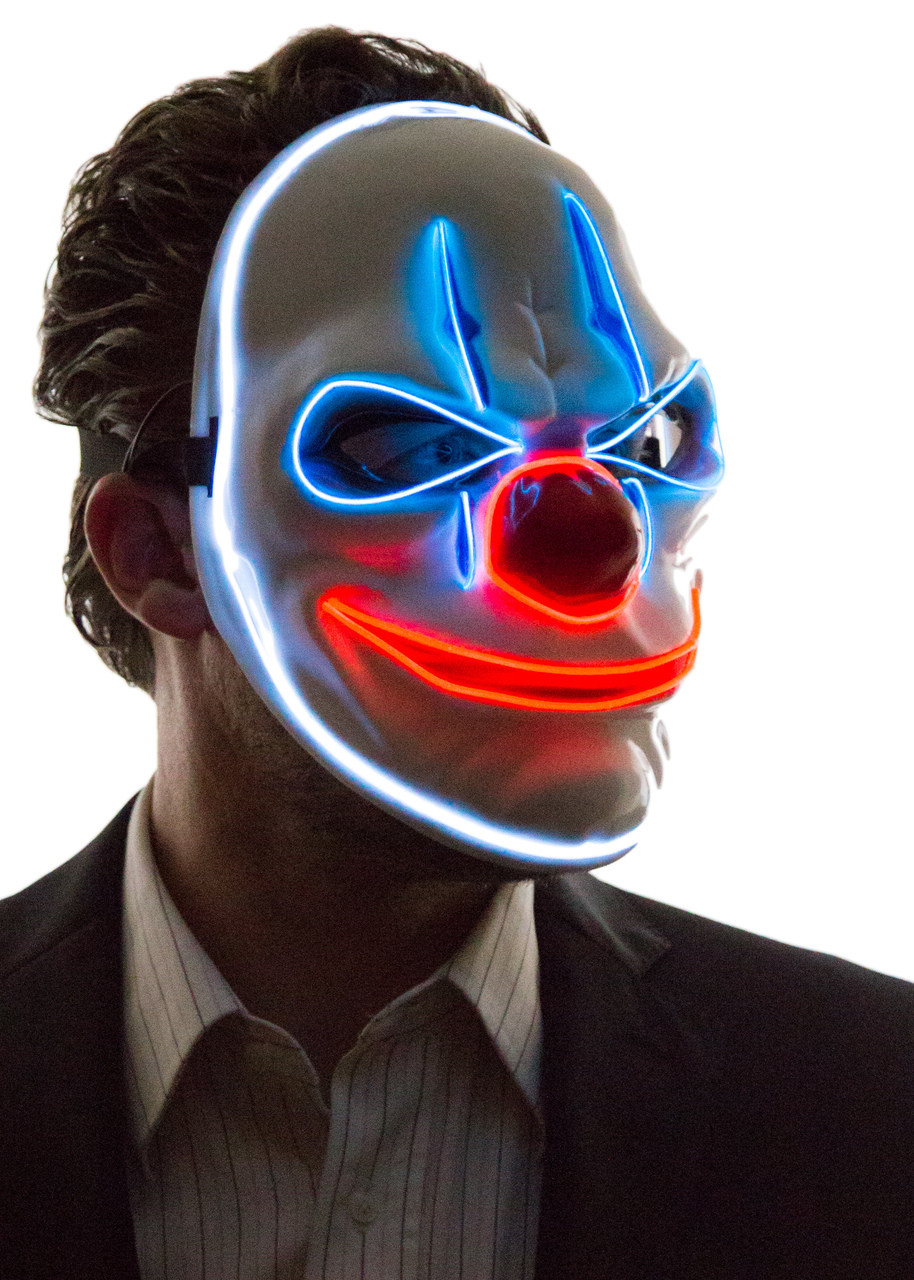 Glowing Angry Clown Mask Neon Nightlife