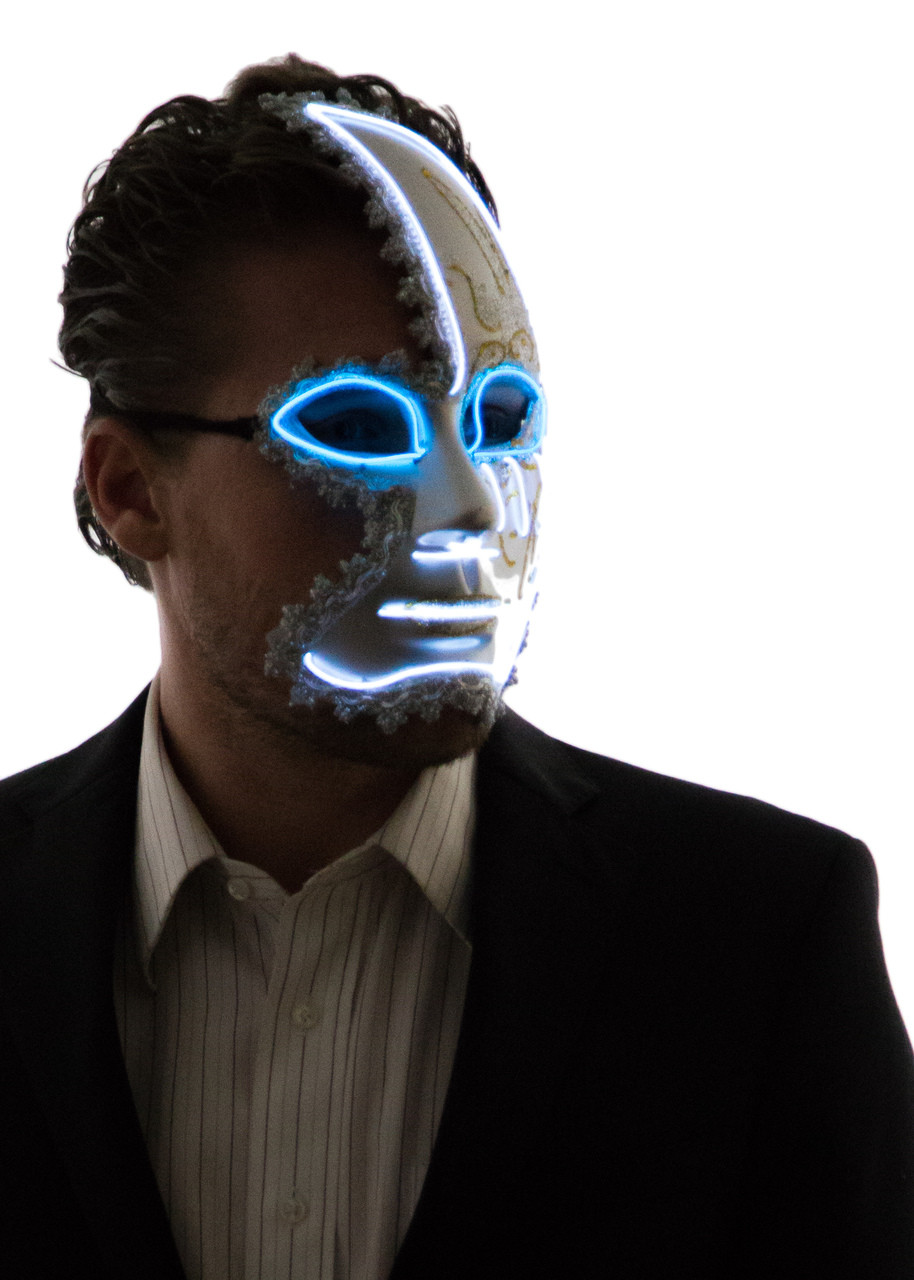 Glowing Half Moon Venetian Face Mask Neon Nightlife
