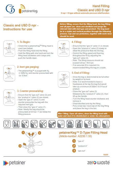 Petainer Keg npr Classic & USD Manual Filling Instructions
