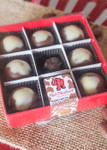 Brown Cow Peanut Butter Ball 9 Piece box with clear lid