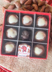 Brown Cow Peanut Butter Ball 9 Piece box top-view with clear lid