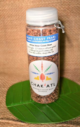 Ivory Coast Pearl Cocoa Bean Grind - 2.5 ounces  - Makes 10 servings of hot cocoa bean beverage Brew Like Coffee or Steep in a French Press like Tea.  This container holds 2.5 ounces that makes about 10 servings at 90 cents a serving.