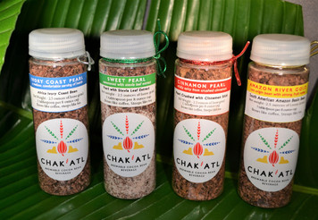 Amazon River Gold - 2.5 ounces Ivory Coast Pearl - 2.5 ounces Sweet Pearl Ivory Coast Pearl with Stevia leaf extract - 2.5 ounces Cinnamon - Ivory Coast Pearl with crushed cinnamon stick - 2.5 ounces  Use 1 tablespoon loose Cocoa Bean Grind per 8oz cup of water. This package makes approximately 10 cups of each Chak'Atl flavor. Brews like Coffee or steep like tea.
