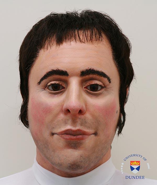 3D head of Robert Burns, uncanny valley