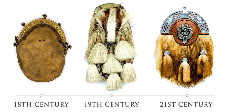ancient 18th century sporran, argyle and sutherland badger sporran 19th century, 21st century clan fox sporran