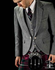 Light Grey Tweed Jacket w/5 Button Vest