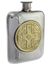 "Celtic Shield Flask - Polished, Gold Accent- 4.5"" - 36864"