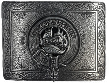 Douglas Clan emblem centered on a pewter belt buckle. Square shape.