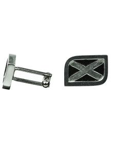 Scottish Flag Cuff Links - Saltire - Polished Pewter