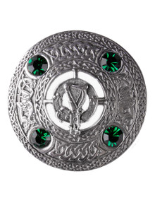 Irish Harp Brooch with Green Stones