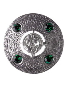 Irish Claddagh Brooch with Green Stones