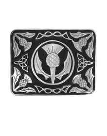 Pewter Thistle Kilt Belt Buckle Black Inlay