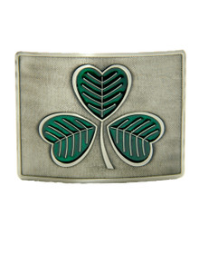 Green Enameled Shamrock Belt Buckle