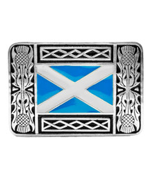 Saltire Kilt Belt Buckle - Solid Pewter - KB2