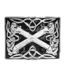 Highland Saltire Belt Buckle - Black & Chrome or Antique