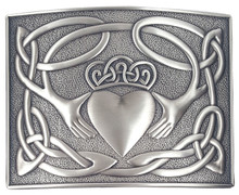 Irish Claddagh Kilt Belt Buckle - Antique - GMB27AS