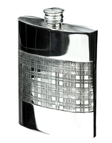 Tartan Pewter Flask With Funnel & Gift Box (Large)