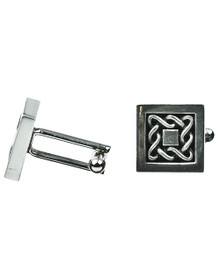 Celtic Knotwork Cuff Links - Square Frame - Polished Pewter