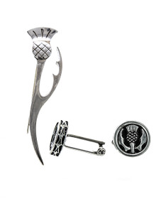Thistle Kilt Pin and Cuff Links Two Piece Box Set