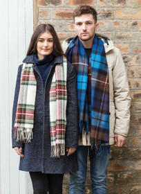 couple wearing Lambswool Tartan Scarf Image