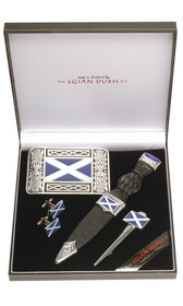 Saltire Sgian Dubh, Buckle, Kilt Pin, and Cuff Links Set - SBK75S image