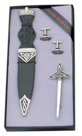 Celtic Knot Sgian Dubh, Kilt Pin, and Cuff Links Set - SK36