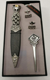 Scottish Thistle Sgian Dubh, Kilt Pin, and Cuff Links Set - SK70