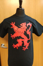 Lion Rampant T-Shirt - Medium - Black and Red