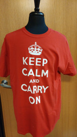 Keep Calm and Carry On T-Shirt - XL- Red
