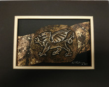 Cast Paper Welsh Dragon Celtic Art - Matted -  by Cynthia L. Stephens
