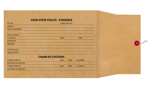 "8"" X 11"" X 3 ½"" Chain of Evidence Brown Kraft Envelopes"