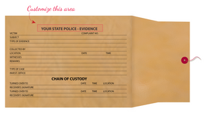 "8"" X 11"" X 3 ½"" Chain of Evidence Brown Kraft Envelopes"