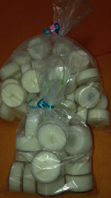 Bag of 50 unscented tealights.  Each tealight burns on average of 5-10 hours.