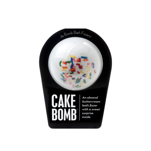 An almond buttercream bath fizzer with a surprise inside  Have your cake and soak in it, too, with this fragrant fizzer. Hold it in your hand as it dissolves, because there's a surprise inside! This could be a small toy, charm, figurine, key chain or other item that coordinates with the name of the bomb itself. Perfect for adults and kids alike. (Everybody loves surprises.)  Warning: Small parts. Not for children under 3.