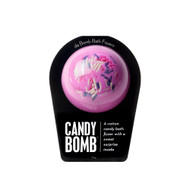 A cotton candy bath fizzer with a surprise inside  Get your bath time sugar rush on with the help of this sweet fizzer. Hold it in your hand as it dissolves, because there's a candy-themed surprise inside! This could be a small toy, charm, figurine, key chain or other item that coordinates with the name of the bomb itself. Perfect for adults and kids alike. (Everybody loves surprises.)  Warning: Small parts. Not for children under 3.