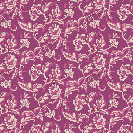 Vine Abstract Fabric Design (Raspberry)
