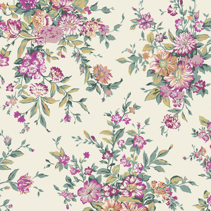 Splendor FLoral Fabric Design (Raspberry)