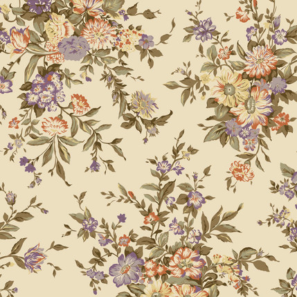 Splendor Floral Fabric Design (Teastain colorway)