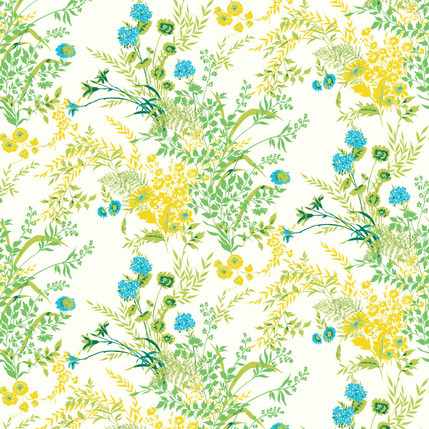 Perennial Floral Fabric (Turquoise)