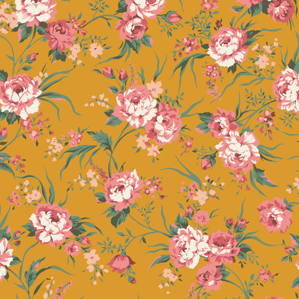 Hannah Floral Fabric Design (Butterscotch Color)