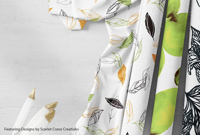 Custom fabric printing in the designs, colors and fabrics you choose