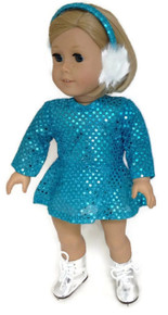 Sequin Skating Dress & Earmuffs-Turquoise