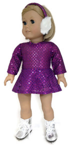 Sequin Skating Dress & Earmuffs-Purple