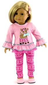 Pink Reindeer Top & Snowflake Leggings Outfit