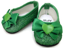 Glitter Dress Shoes with Bow & Heart Accent-Green