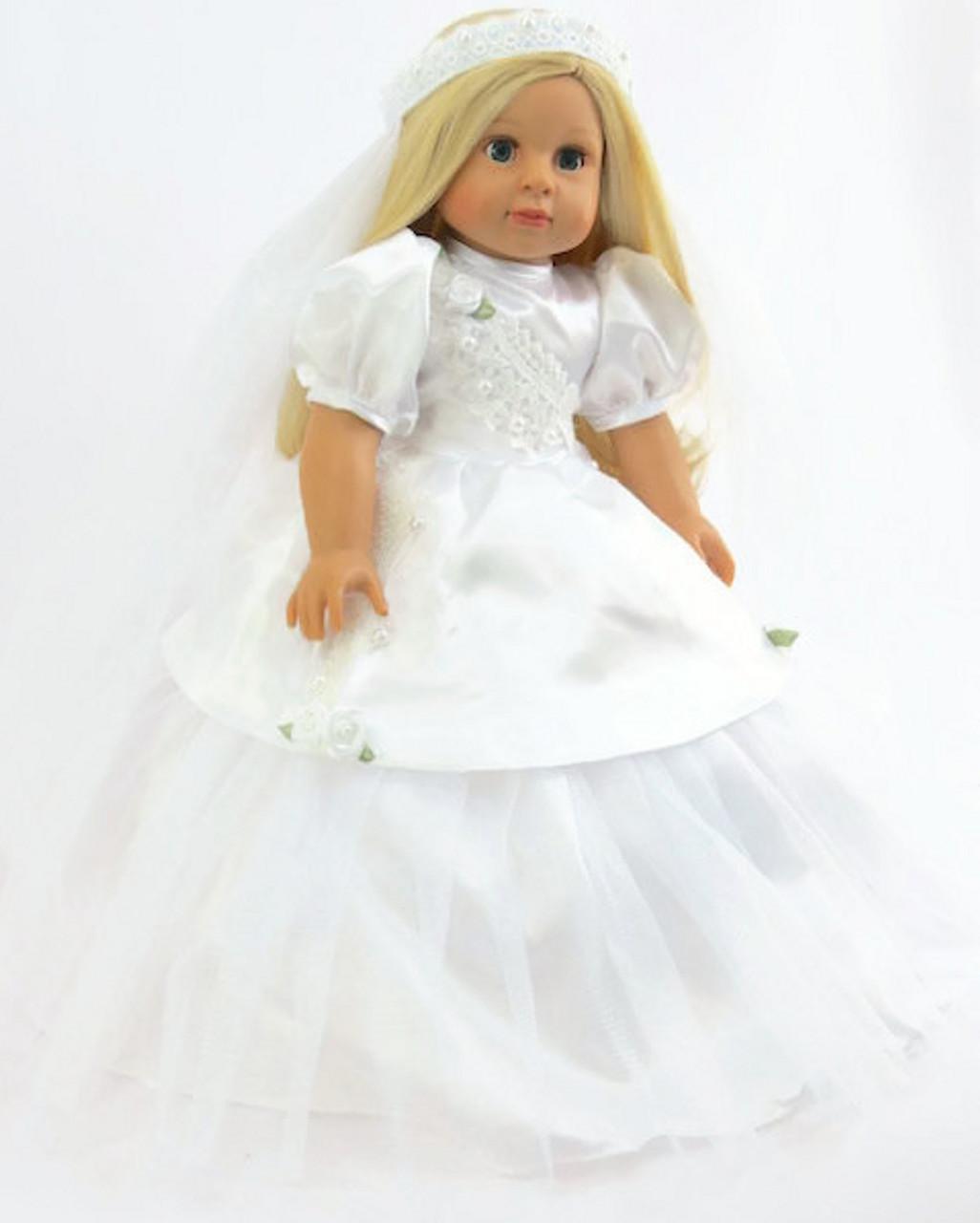 Wedding Communion Gown /& Hair Wreath Veil for 18 inch American Girl Doll Clothes