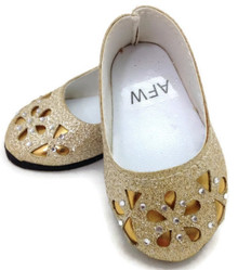 Glitter Flats with Floral Cutout & Rhinestones-Gold