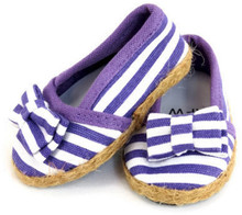 Purple and White Striped Flats with Bow