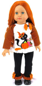 Halloween Top with Black Cat & Black Leggings