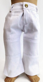 Denim Pants with Pockets-White
